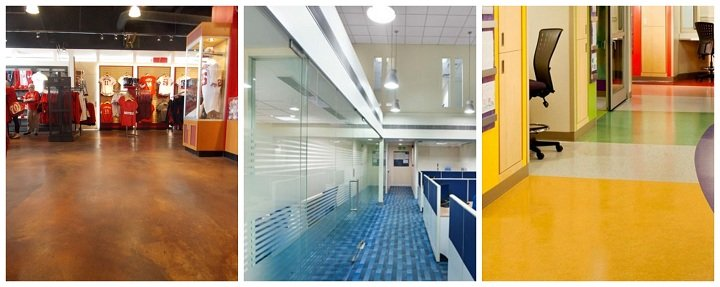 colored commercial interior floors