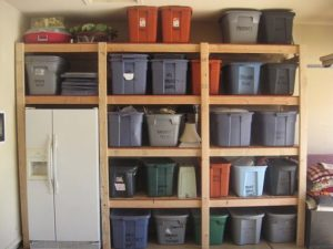 garage labeled bins boxes