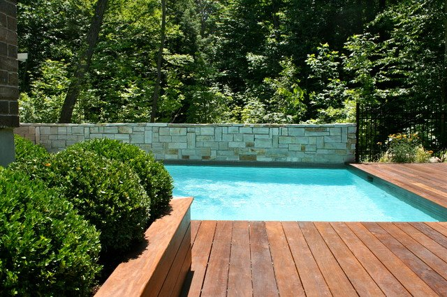 interior wood floor pool deck